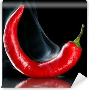 Red hot chili pepper isolated on black Vinyl Wall Mural