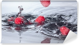 Red Raspberries Dropped into Water with Splash Vinyl Wall Mural