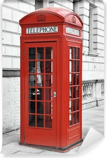 Red telephone booth in London, England Vinyl Wall Mural