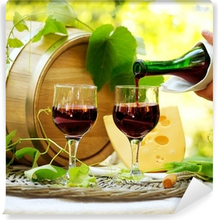 Red Wine and Cheese. Romantic Lunch Outdoor. Vinyl Wall Mural