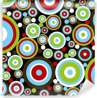 retro power red blue green circles on brown Vinyl Wall Mural