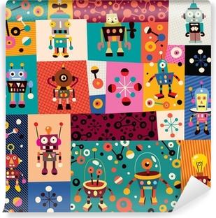 robots pattern Vinyl Wall Mural