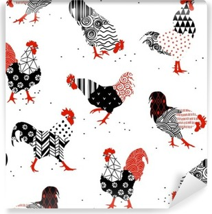 roosters with patterns Vinyl Wall Mural