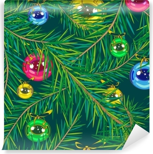 round brilliant christmas tree decorations of blue gold green and red color hand on