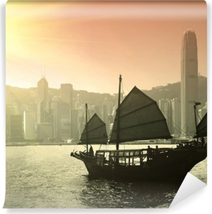 Sailing Victoria Harbor in Hong Kong Vinyl Wall Mural