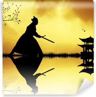 Samurai silhouette at sunset Vinyl Wall Mural