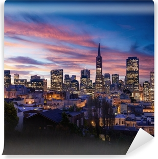San Francisco skyline and Bay Bridge at sunset, California Vinyl Wall Mural