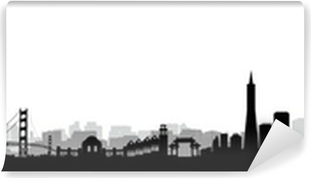 san francisco skyline silhouette wall mural pixers we live to