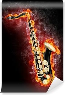 Saxophone in Flame Vinyl Wall Mural