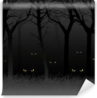 Scary eyes staring and lurking from dark woods Vinyl Wall Mural