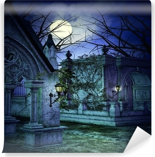 Scary Graveyard Backdrop Vinyl Wall Mural