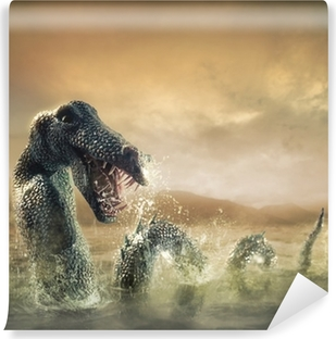 Scary Loch Ness Monster emerging from water Vinyl Wall Mural