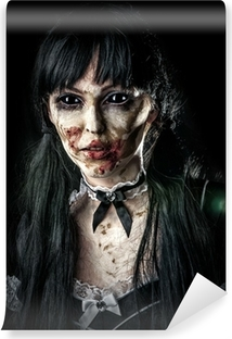 Scary zombie woman with black eyes Vinyl Wall Mural