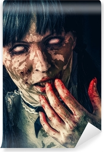 Scary zombie woman with bloody eyes Vinyl Wall Mural