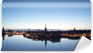 Scenic evening panorama of Stockholm, Sweden Vinyl Wall Mural