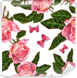 Seamless background pattern with vintage style watercolor roses Vinyl Wall Mural