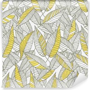 Seamless Floral Leaf Pattern Vinyl Wall Mural