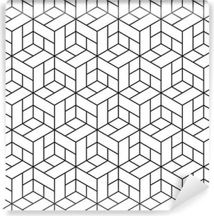 Seamless geometric pattern with cubes. Vinyl Wall Mural