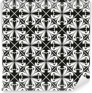 Seamless black and white gothic geometrical floral vector border