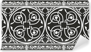 Geometrical Seamless black and white gothic floral texture Wall