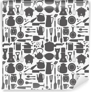 seamless kitchen pattern Vinyl Wall Mural