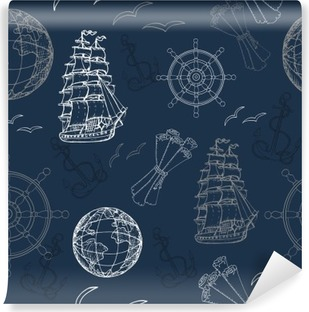 Seamless nautical background with anchor, globe and ship Vinyl Wall Mural