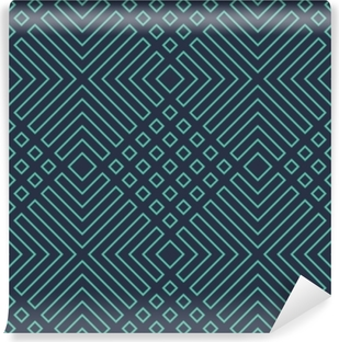 Seamless neon blue diagonal art deco geometric outline pattern vector Vinyl Wall Mural