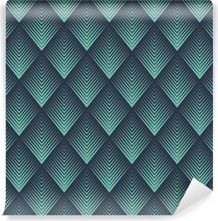 Seamless neon blue op art rhombic chevron blend pattern vector Vinyl Wall Mural