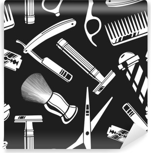 Seamless pattern background with vintage barber shop tools Vinyl Wall Mural