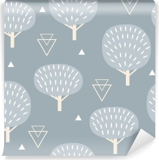 Seamless pattern in modern Scandinavian style. Vector geometry background of north nature. Vinyl Wall Mural