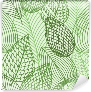 Seamless pattern of spring outline reen leaves Vinyl Wall Mural