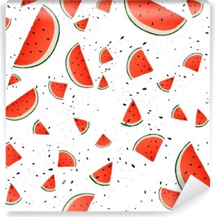 Seamless pattern of watermelon slices. Vector summer background with hand drawn slices of watermelon. Vector. Vinyl Wall Mural