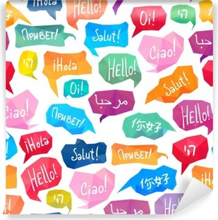 "Seamless pattern - speech bubbles with ""Hello"" on different languages Vinyl Wall Mural"