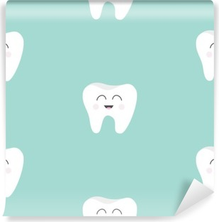 Seamless Pattern Tooth health. Cute funny cartoon smiling character. Oral dental hygiene. Children teeth care. Baby texture. Flat design. Blue background. Vinyl Wall Mural