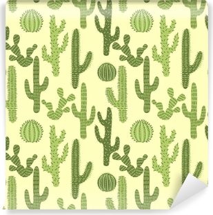 Seamless pattern with cactuses #1 Vinyl Wall Mural