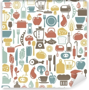 seamless pattern with cooking icons Vinyl Wall Mural