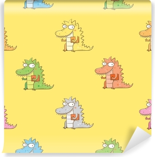 Seamless pattern with cute cartoon dragon in glasses on yellow background. Smart reptile with book. Funny animal. Vector contour image. Children's illustration. Vinyl Wall Mural