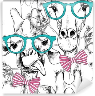 Seamless pattern with giraffes in the glasses and with bow. Vector illustration. Vinyl Wall Mural