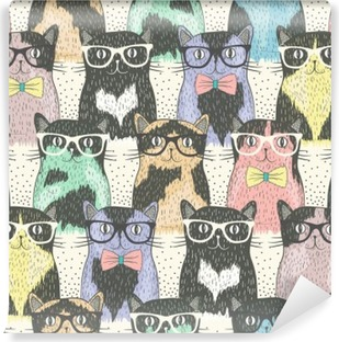 Seamless pattern with hipster cute cats for children Vinyl Wall Mural