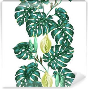 Seamless pattern with monstera leaves. Decorative image of tropical foliage and flower. Background made without clipping mask. Easy to use for backdrop, textile, wrapping paper Vinyl Wall Mural