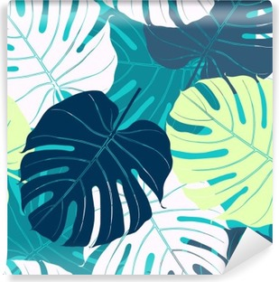 Seamless pattern with palm leaves. Vinyl Wall Mural