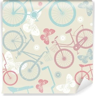 Seamless pattern with retro bicycles and cute butterflies Vinyl Wall Mural