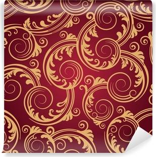 Seamless Red Gold Swirls Wallpaper Vinyl Wall Mural