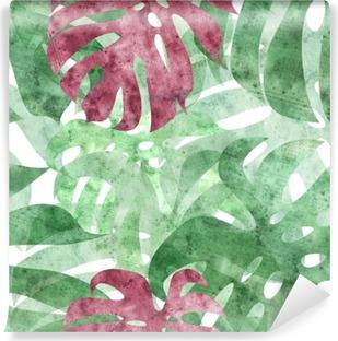 seamless repeatable monstera leaf background Vinyl Wall Mural