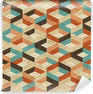 Seamless retro geometric pattern. Vinyl Wall Mural