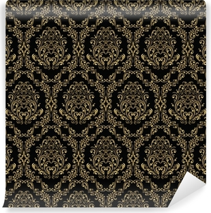 Seamless retro wallpaper in victorian style: gold on black. Vinyl Wall Mural