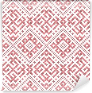 Seamless Russian folk pattern, cross-stitched embroidery imitation