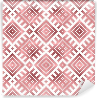 Seamless Russian folk pattern, cross-stitched embroidery imitation. Patterns consist of ancient Slavic amulets. Swatch included in vector file. Vinyl Wall Mural