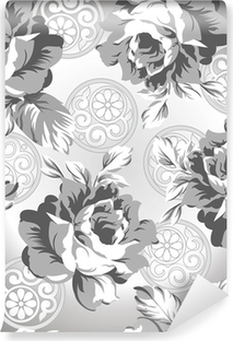 Seamless Silver Rose Flower Background Self Adhesive Wall Mural