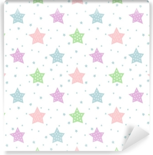 Seamless star pattern for kids holidays. Pastel colors baby shower vector background. Cute child drawing style star sky illustration. Vinyl Wall Mural